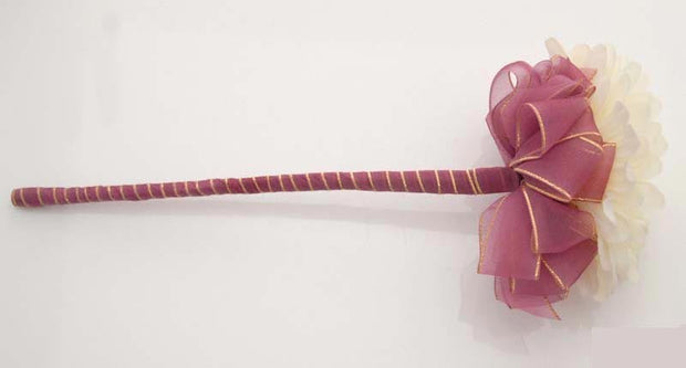 Ivory Silk Gerbera Burgundy Ribbon Flower Girl Wedding Wand