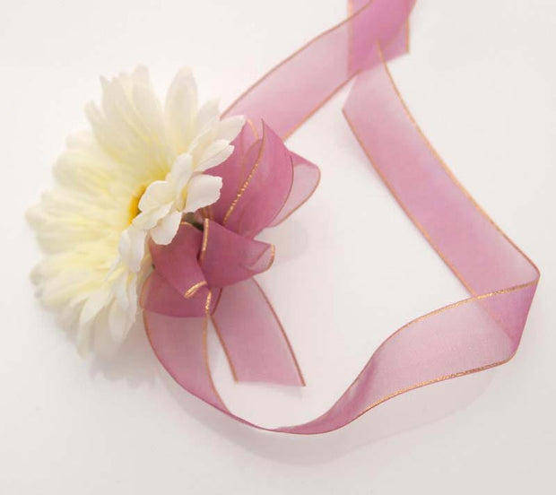 Ivory Silk Gerbera, Purple Ribbon Wedding Day Wrist Corsage