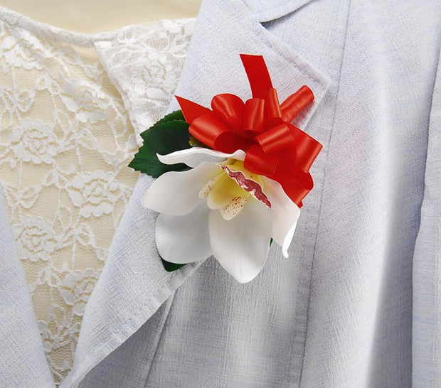 Ivory Silk Orchid & Red Ribbon Bow Pin Wedding Corsage