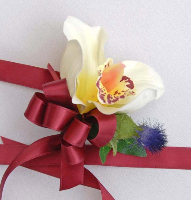 Ivory Silk Orchid & Thistle Wrist Corsage with Burgundy Bow