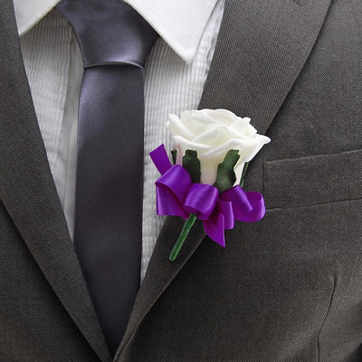 Ivory Diamante Foam Rose & Purple Bow Wedding Buttonhole