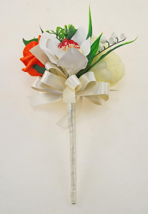 Ivory Peony, Orchid, Stephanotis & Orange Rose Flower Girl Wedding Wand