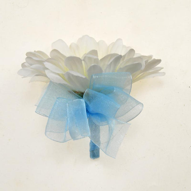 Ivory Silk Gerbera & Blue Organza Bow Wedding Buttonhole