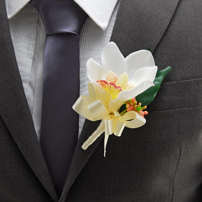 Ivory Silk Orchid, Berry & Ficus Wedding Guest Buttonhole
