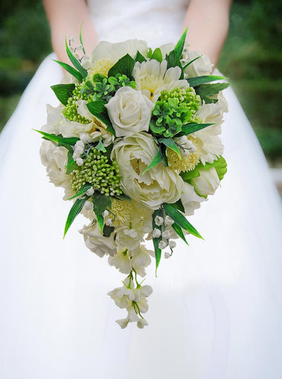 Ivory Silk Peony, Gerbera, Rose & Green Berry Bridal Shower Bouquet
