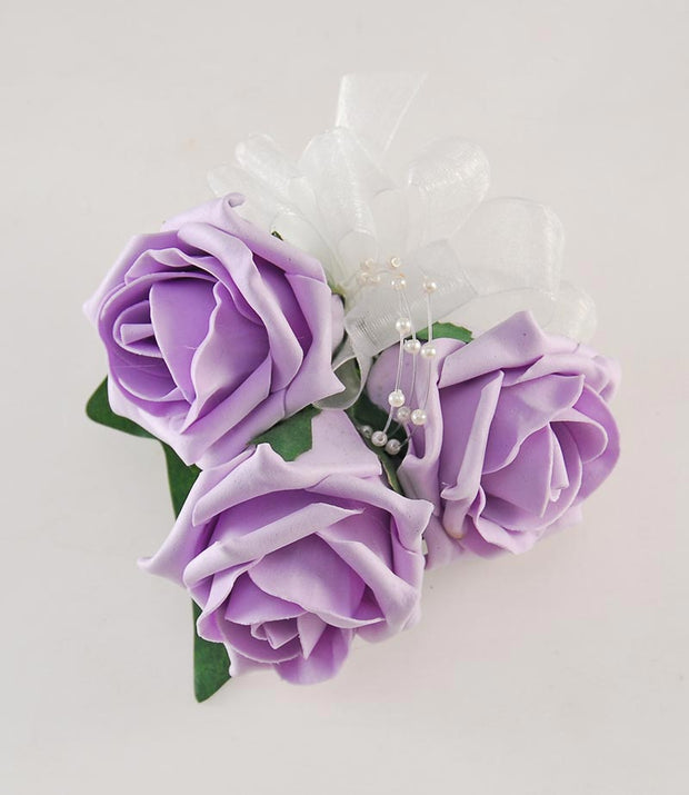 Mothers Lilac Foam Rose & Pearl Wedding Day Pin Corsage
