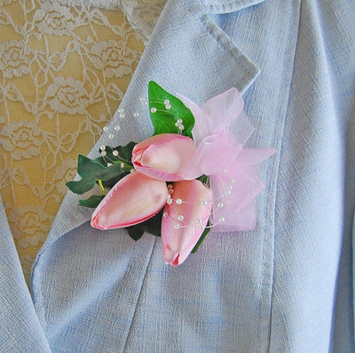Ladies Pink Silk Tulip & Pearl Wedding Pin Corsage