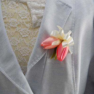 Ladies Double Pink Silk Tulip Pin On Wedding Corsage