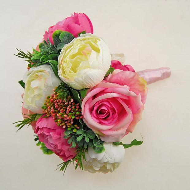 Large Bridesmaids Wedding Peony Bouquet Pink & Ivory