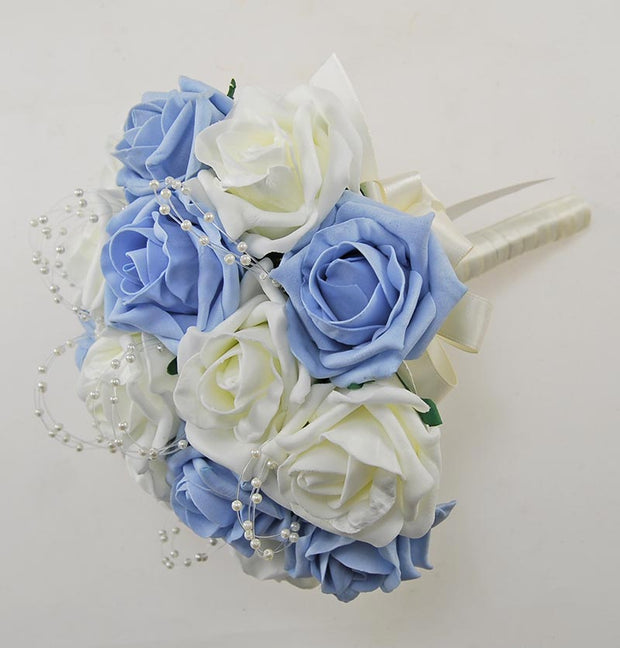 Light Blue, Ivory Rose & Pearl Bridesmaids Wedding Bouquet