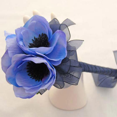 Light Blue Silk Anemone & Navy Ribbon Bridesmaids Wand