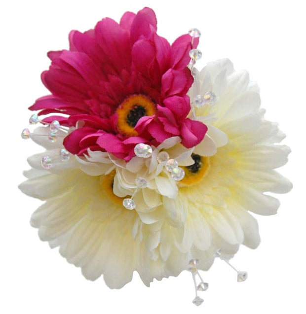 Cerise Pink, Ivory Silk Gerbera & Crystal Spray Flower Girl Posy