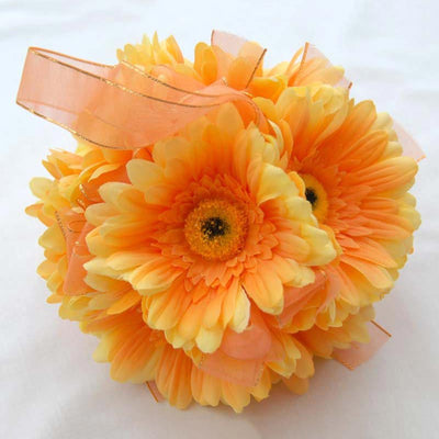 Orange Silk Gerbera Flower Girls Pomander Ball