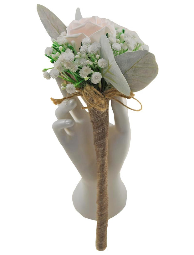 Light Pink Foam Rose, Ivory Gypsophila & Hessian Ribbon Flower Girl Wand