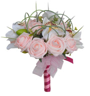 Bridesmaids Pink Rose, Ivory Silk Orchid & Grass Loop Bouquet