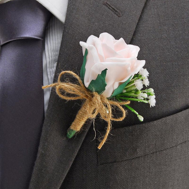 Light Pink Rose & Ivory Gypsophila Twine Bow Wedding Guest Buttonhole