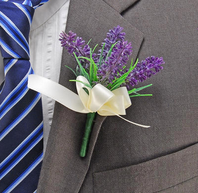 Lilac Artificial Lavender Spray Wedding Guest Buttonhole