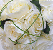 Brides Long Stem Ivory Silk Adore Rose Wedding Bouquet