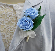 MOTHERS DOUBLE LIGHT BLUE ROSE PIN ON WEDDING CORSAGE