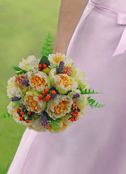 Brides Lemon Silk Peony, Lilac Lavender, Orange Hypericum Berry Wedding Bouquet