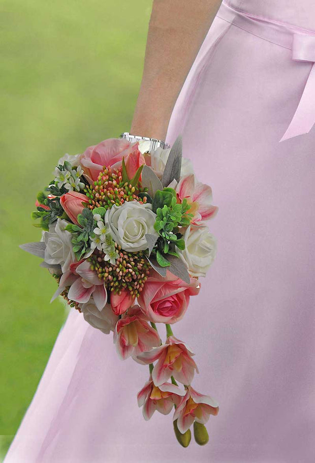 Brides Pink Silk Orchid, Ivory Roses, Stephanotis & Berry Shower Bouquet