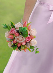Brides Pink Silk Tulip, Foam Rose & Eucalyptus Wedding Bouquet