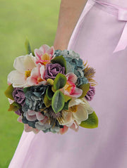 Brides Ivory Magnolia, Teal Hydrangea & Pink Orchid Wedding Shower Bouquet