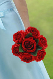 Brides Large Head Red Silk Rose Bridal Wedding Bouquet