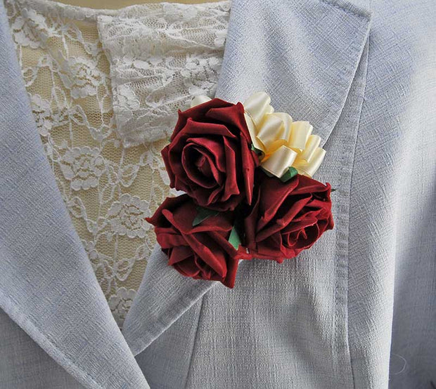 Brides Ivory & Burgundy Foam Rose Wedding Posy Bouquet
