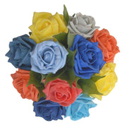 Mixed Colour Foam Rose Bridesmaids Wedding Posy Bouquet