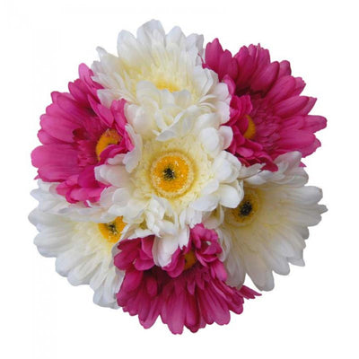 Bridesmaids Cerise Pink & Ivory Silk Gerbera Wedding Posy