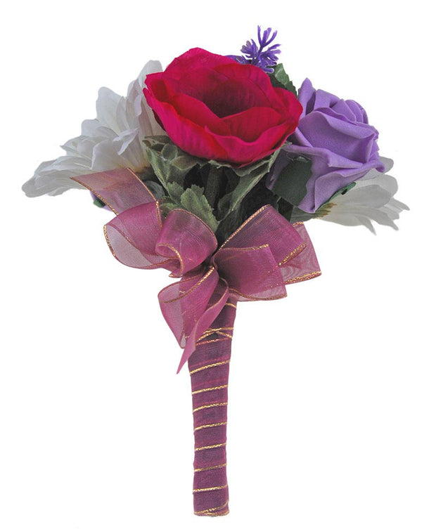 Pink Anemone, Purple Rose & Ivory Silk Gerbera Flower Girl Posy