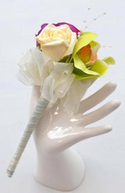 Green Orchid, Pink Anemone & Rose Flower Girl Wedding Wand
