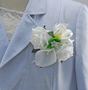 Mothers Ivory Rose, Calla Lily & Stephanotis Wedding Pin Corsage