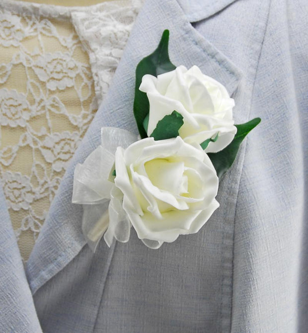 Mothers Double Ivory Foam Rose Pin On Wedding Corsage