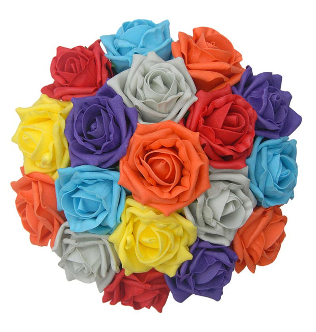 Bridesmaids Multi Colour Foam Rose Wedding Posy Bouquet