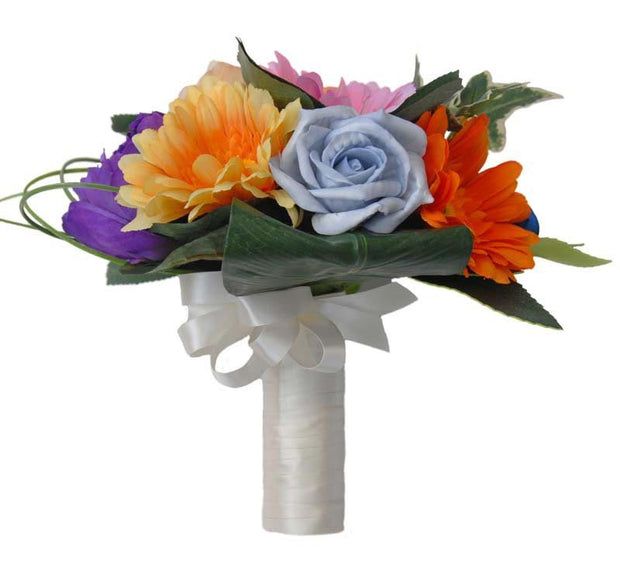 Multi Coloured Bridesmaids Wedding Bouquet with Gerbera & Roses