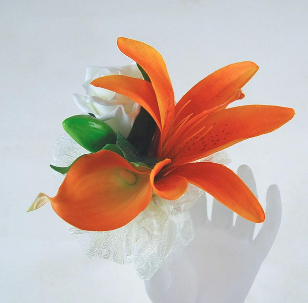 Orange Lily & Ivory Rose Flower Girls Wedding Day Wand