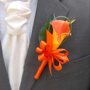 Single Orange Artificial Calla Lily Wedding Grooms Buttonhole