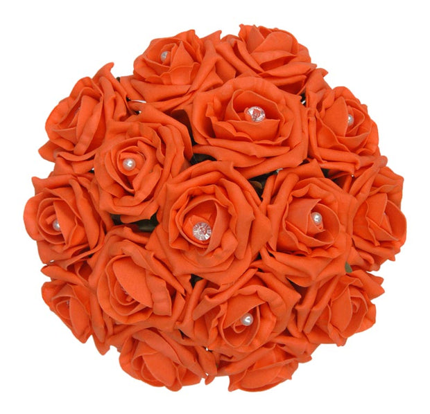 Orange Diamante Foam Rose Bridesmaids Wedding Posy Bouquet