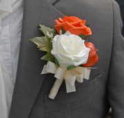 Grooms Ivory & Orange Foam Rose and Pumpkin Wedding Buttonhole