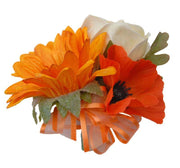 Golden Sunflower, Orange Poppy & Cream Rose Pin Corsage