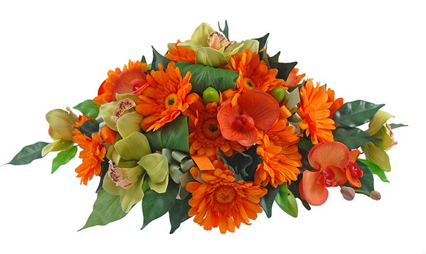 Orange Silk Gerbera & Green Orchid Wedding Table Arrangement