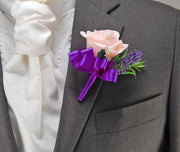 Pale Pink Rose & Purple Lavender Wedding Guest Buttonhole