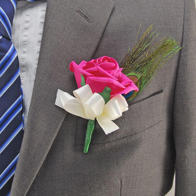 Cerise Pink Rose & Peacock Feather Wedding Guest Buttonhole