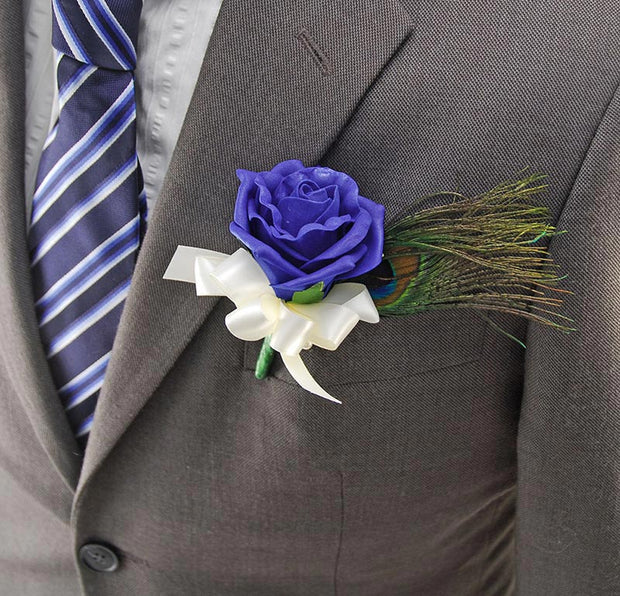 Peacock Feather & Royal Blue Rose Wedding Guest Buttonhole