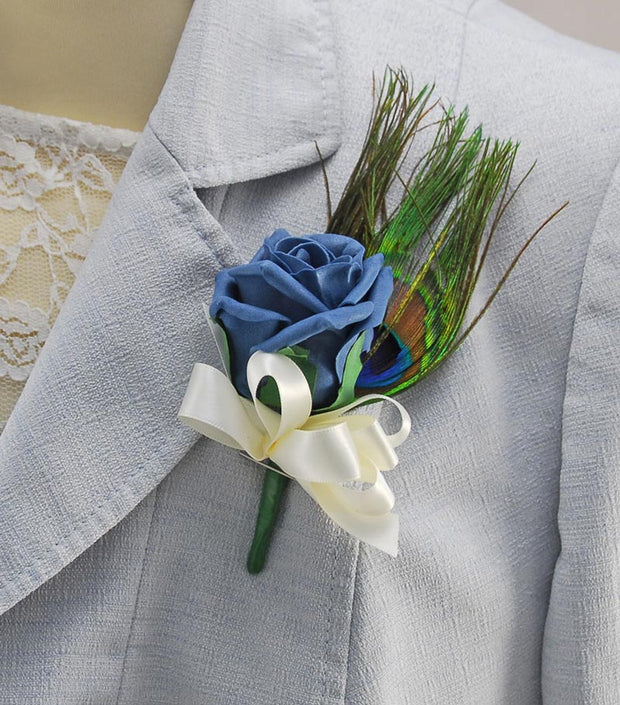 Teal Foam Rose & Peacock Feather Wedding Guest Buttonhole