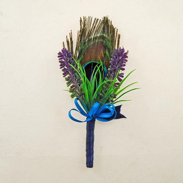 Peacock Feather & Silk Lavender Wedding Guest Buttonhole