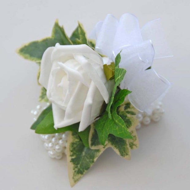 White Foam Rose & Green Ivy Pearl Band Wrist Corsage