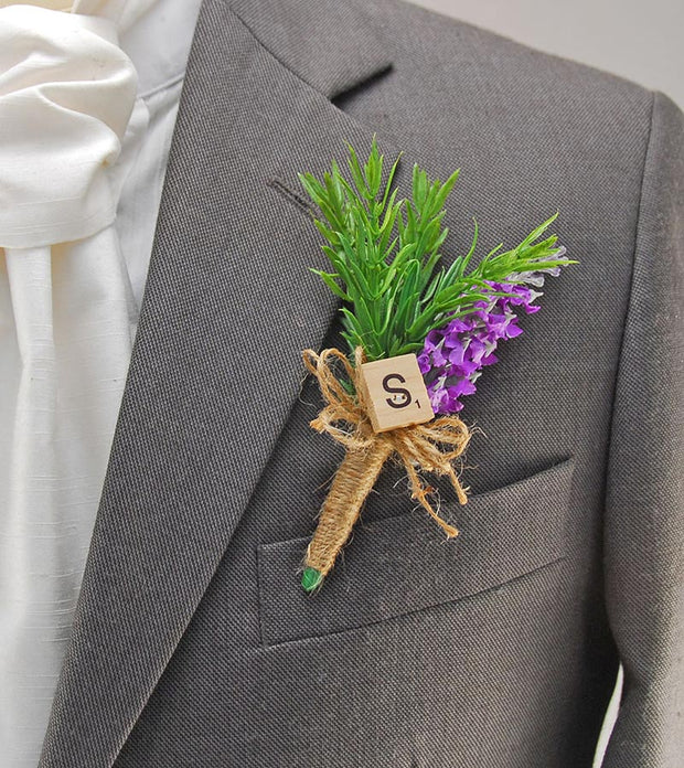 Personalised Initial Wedding Buttonhole with Silk Lavender & Rosemary